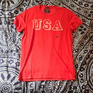 Red and White Abercrombie and Fitch USA T-shirt